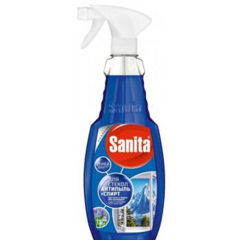 Sanita спрей для стекол, Антипыль+Спирт, чистота и блеск без разводов, Горная свежесть, 500мл (04591)