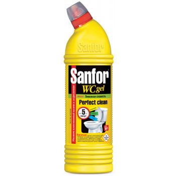 Sanfor WC gel чистящее средство гель, Лимонная Свежесть, для удаления известкового налета, 750г (02771)