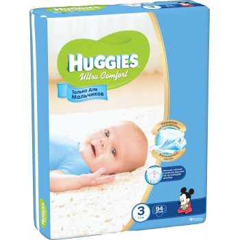 Huggies ultra comfort #3 подгузники 5-9 кг, для мальчиков, 94шт (43659)