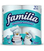 Familia бумажные полотенца, 2 рулона, 2 слоя, ширина отрыва 25см, 50 отрывов в рулоне  (00259)