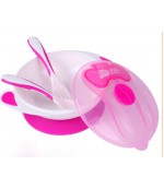 Mumlove тарелка на присоске, чашка розовая + 2 ложки  (63138)
