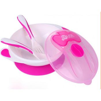 Mumlove тарелка на присоске, чашка розовая + 2 ложки  (25093)