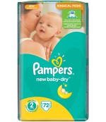 Pampers new baby-dry #2 подгузники, 3-6 кг, 72шт (93818)