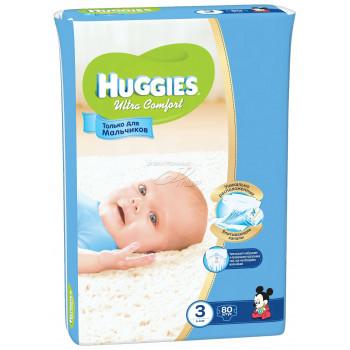 Huggies ultra comfort гига #3 подгузники 5-9 кг, для мальчиков, 80шт (43598)