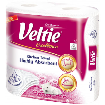Veltie Excellence бумажные полотенца, 2 рулона, 3 слоя, 96 отрывов (02853)