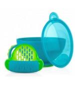 Nuby набор для кормления (толкушка, чашка, ложка, крышка), 300мл, с 4+месяцев, 1шт (id5349) (53490)