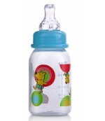 Nuby цветная пластиковая бутылочка со стандартным горлышком, с круглой силиконовой соской, вариационный поток, 0-12 месяцев, 120мл, 1шт  (1161) 11612