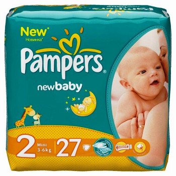 Pampers new baby #2 подгузники, 3-6 кг, 27шт (37397)