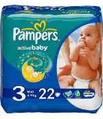 Pampers active baby  #3 подгузники, 5-9 кг, 22шт (01674)