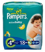 Pampers active baby #4+ подгузники, 9-16 кг, 18шт (02886)