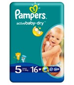 Pampers active baby dry #5 подгузники, 11-18кг, 16шт (03043)