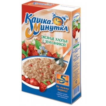 Кашка Минутка каша овсяная с малиной, со сливочным вкусом, 5 пакетов, 215гр (73370)