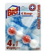 Bref сила актив чистящее средство, туалетные блоки для унитаза, с хлор-компонентом, 1шт x 4 шарика (87485)