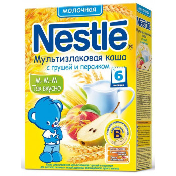 Nestle каша мультизлаковая, с грушей и персиком, с 6 месяцев, 220гр (00331)