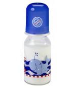 Baby Nova стеклянная бутылочка, с круглой силиконовой соской, 1 капля, синий, 0+ месяцев, 125мл (44605)