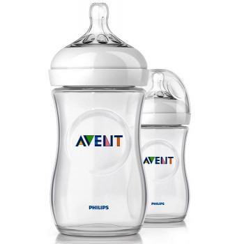 Philips AVENT Natural пластиковая бутылочка, с круглой силиконовой соской, 2 капли - медленный поток, 1+ месяцев, 260мл, 1шт (scf693/17) (61538)