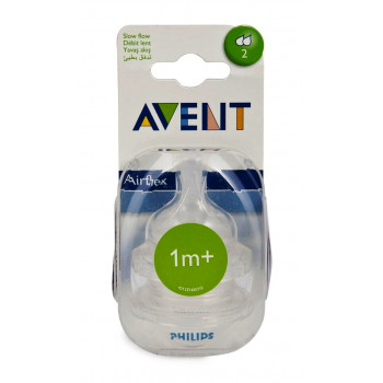 Philips AVENT силиконовые соски для бутылок серии Classic+, 2 отверстия-средний поток, 1+месяцев, 2шт scf632/27 (10870) (80935)