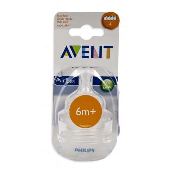Philips AVENT силиконовые соски для бутылок серии Classic+, 4 отверстия-быстрый поток, 6+месяцев, 2шт scf634/27 (10917) (61997)