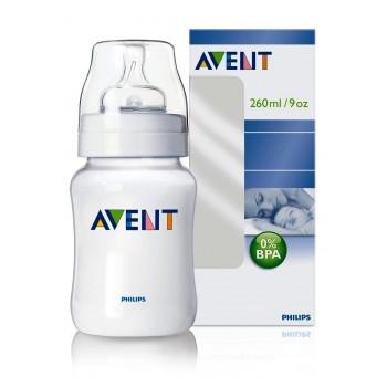 Philips AVENT Classic пластиковая бутылочка, с круглой силиконовой соской, 2 капли- медленный поток, с 1+ месяцев, 260мл, 1шт (scf683/61) (97004) (95752)