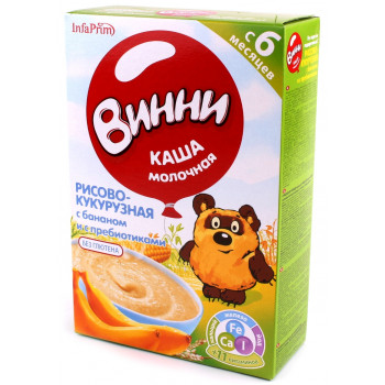Винни каша молочная, рисово-кукурузная с бананом, с пребиотиками, с 6 месяцев, 220гр (04893)