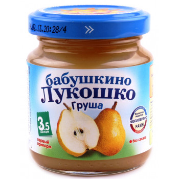 Бабушкино Лукошко пюре фруктовое, груша, с 3,5 месяцев, 100гр (02223)