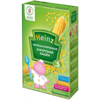 Heinz каша безмолочная низкоаллергеная, кукурузная, с 5 месяцев, 200гр  (01442)