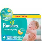 Pampers active baby dry #4 подгузники, 7 -14 кг, 90шт (37070)
