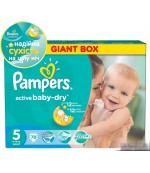 Pampers active baby dry #5 подгузники, 11-18 кг, 78шт (37117)