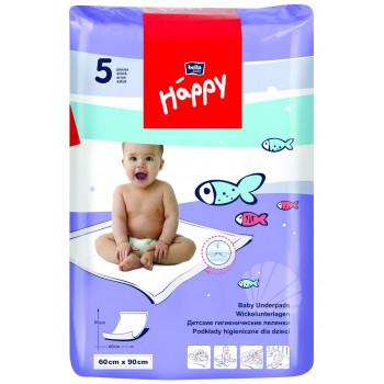 Happy  одноразовые пеленки для детей, впитывающие, 90*60см, 5шт (01980)