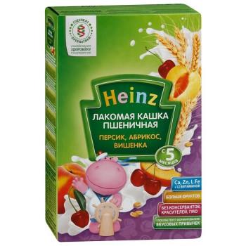 Heinz  Лакомая каша пшеничная, персик, абрикос, вишня, с 5 месяцев, 200гр  (01398)